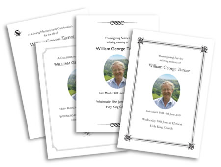 Stationery for Funeral service sheet template